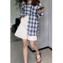 Fashion Womens Plaid Pattern Cut Out Long Sleeve Spread Collar Button Up Loose Fit Shirt Top