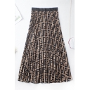 Unique Womens Skirt All-over Letter F Pattern Chiffon Swing Elastic Waist Midi A-Line Pleated Skirt