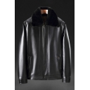Novelty Mens Jacket Fleece-Lined Detachable Fur Trim Zipper-down Long Sleeve Turn-down Collar Regular Fit Leather Jacket