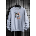 Mens Pullover Sweatshirt Casual Indian Feather Dog Printed Round Neck Long Sleeve Regular Fit Pullover Sweatshirt