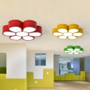 Acrylic Floral Ceiling Lighting Cartoon LED Flush Mount Lamp in Red/Yellow/Green for Living Room