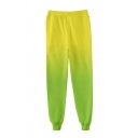 Mens Ombre Elastic Waist Ankle Length Cuffed Tapered Fit Fashion Sweatpants