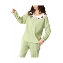 Leisure Womens Strawberry Embroidered Long Sleeve Peter Pan Collar Bow Tied Ribbed Relaxed T Shirt & Cuffed Straight Pants Pajamas Set in Green