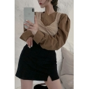 Stylish Ladies Solid Color Puff Long Sleeve Crew Neck Regular Fit Shirt Top