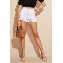 Womens Trendy Shorts Plain Pockets Slim Short High-rise Button Placket Ripped Denim Shorts in White