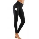 Dainty Leggings Top-stitching High-rise Pocket Skinny Full Length Regular Leggings for Women