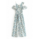 Dainty Jumpsuits Plant Leaf Floral Print Short Sleeves Zip Closure Tie Pockets Asymmetrical Collar Ruffled Wide-leg Jumpsuits for Women