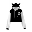 Popular Chinese Letter Print Contrasted Long Sleeve Drawstring Regular Fit Crop Hoodie
