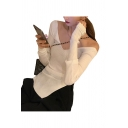 Sexy Womens Solid Color Long Sleeve Off the Shoulder Slit Side Knit Slim Fit T Shirt