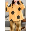 Vintage Womens Polka Dot Print Long Sleeve Round Neck Oversized T-Shirt & Plaid Pattern Ankle Length Pants Pajama Set in Yellow