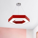 Hexagon Ring Playroom Ceiling Pendant Acrylic LED Modernist Chandelier Lighting in Yellow/Red/Blue