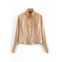 Elegant Satin Long Sleeve Point Collar Bow Tied Button Up Relaxed Shirt Top in Khaki