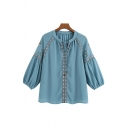 Tribal Ladies Floral Embroidered Blouson Sleeve Crew Neck Bow tied Relaxed Fit Shirt Top in Blue