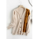 Popular Womens Music Note Long Sleeve V-neck Button Up Slim Fit Knit Relaxed Fit Cardigan