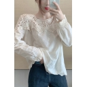 Cute Girls Crochet Lace Patchwork Long Sleeve Crew Neck Scalloped Relaxed Fit Blouse Top in White