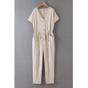 Vintage Womens Jumpsuits Solid Color Double-Pocket Front Button Detail Drawstring Waist Short Sleeve V Neck Regular Fitted Tapered Jumpsuits
