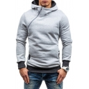 Casual Hooded Sweatshirt Color Block Contrast Trim Rivets Zipper Long-sleeved Slim Fit Hooded Sweatshirt for Men