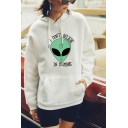 Trendy Alien Letter I Don't Believe in Humans Graphic Printed Drawstring Kangaroo Pocket Long Sleeve Loose Fit Hooded Sweatshirt