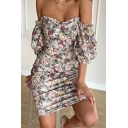Stylish All-over Floral Printed Puff Sleeve Off-shoulder Stringy Selvedge Short Bodycon Dress in Pink