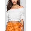 Sexy Womens Solid Color Stringy Selvedge Ruffled Open Back Off the Shoulder Half Puff Sleeve Slim Fit Crop Blouse Top in White