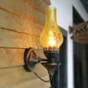 Vase Yellow/Clear/Frosted Glass Sconce Farmhouse 1 Head Outdoor Wall Lighting Fixture in Bronze