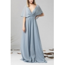 Casual Ladies Light Blue Sheer Chiffon Open Back Maxi Pleated Flowy Dress