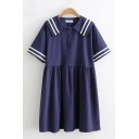 Fashionable Girls Striped Short Sleeve Sailor Collar Button-up Short Pleated Swing Dress