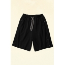 Mens Shorts Fashionable Side Button Detail Knee-Length Regular Fitted Drawstring Waist Sweat Shorts