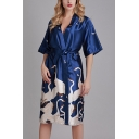Chic Womens Flamingo Printed Bow Tie Waist Surplice Neck Half Sleeve Silk Midi A-Line Wrap Sleepwear