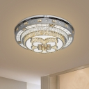 Modern Petal Flush Mount Clear Crystal Living Room LED Ceiling Lighting in Chrome, Warm/White Light