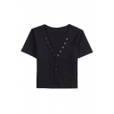 Basic Womens Tee Top Plain Front Button Detail Cropped V Neck Regular Fit Short Sleeve Tee Top