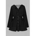 Womens Dress Trendy Plain Buckle Belted Front Button Crisscross Detail Long Sleeve Turn-down Collar Short Black A-Line Dress