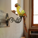 1 Light Living Room Wall Light Fixture Tiffany White/Red/Yellow Wall Sconce with Parrot Stained Glass Shade