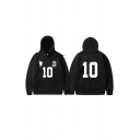 Mens Fashionable Hoodie Footprint Number 10 Chinese Letter Pattern Cuffed Drawstring Long Sleeve Relaxed Fitted Hoodie with Kangaroo Pocket
