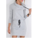Chic Simple Plain Cowl Neck Long Sleeve Hoodie Mini Dress