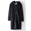 Warm Hooded Zippered Long Sleeves Plain Velvet Longline Coat with Pockets