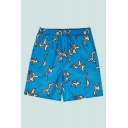 Blue Mens Shorts Stylish Abstract Fire Flame Printed Knee-Length Regular Fitted Drawstring Waist Relaxed Shorts