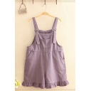 Popular Overalls Solid Color Stringy Selvedge Pocket Button Oversize Short Overalls for Women