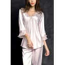 Trendy Ladies Mesh Patchwork Lace Bow Embellished Scalloped V Neck Bell 3/4 Sleeve Relaxed Shirt & Elastic Waist Full Length Wide-Leg Pants Pajama Set