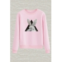 Stylish Rabbit Geometric Print Round Neck Long Sleeve Regular Fit Pullover Sweatshirt