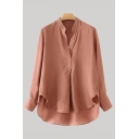 Leisure Red Long Sleeve V-neck High Low Hem Loose Fit Shirt Top for Ladies