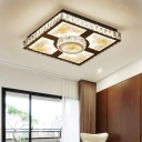 Living Room LED Ceiling Flush Modernism Chrome Petal Patterned Flushmount with Squared Faceted Crystal Shade