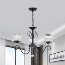 Cone Clear Crystal Hanging Chandelier Modern 3/6/8 Heads Black Suspension Light with Curved Arm for Dining Room