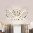 Minimal Twisted Semi Flush Light Fixture Crystal LED Bedroom Ceiling Lamp in Nickel, Warm/White Light