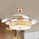 Silver/Gold Drum Fan Light Kit Modern Style Faceted Glass LED Semi Flush Mount with 4-Blade, 19