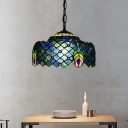 1-Bulb Dining Room Hanging Lamp Kit Tiffany Blue and Green Peacock Tail Pattern with Drum Cut Glass Shade
