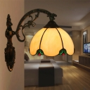 1-Head Wall Mounted Lamp Tiffany Domed Stained Glass Wall Lighting Ideas in Brass with Curved Arm