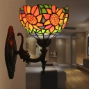 Brass 1 Head Wall Sconce Victorian Hand Cut Glass Bowl Wall Lamp with Sunflower Pattern