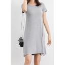 Leisure Round Neck Short Sleeve Plain Mini Asymmetric Dress