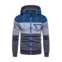 Mens Active Color Block Zipper Pocket Long Sleeve Zip Up Casual Hoodie